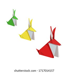 There are collection of colorful origami rabbits from big to small on white isolated background made as a vector illustration that can be used as prints and an original art or as an element of décor.