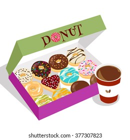 There is a cup of coffee and a box of delicious dough nuts.