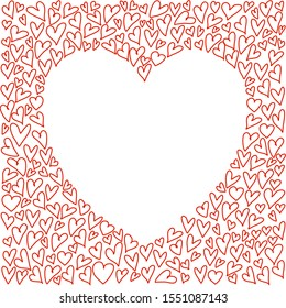 There are doodle heart shape around the big heart shape in the center with copy space for your text. Sweet decorating template for romantic moment.