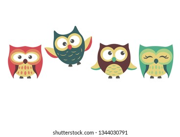 There are four cute different owls on the white background. vector illustration. owl-picture