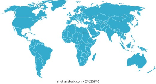 There is a global map of world, blue, vector