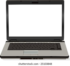 There is a gray vector laptop computer