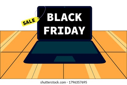 There are many boxes of goods.  laptop on sale for black friday.  Vector illustration