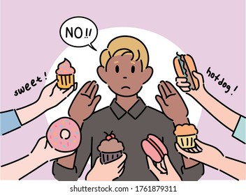There are many hands holding food around a man. The man is refusing food. hand drawn style vector design illustrations.
