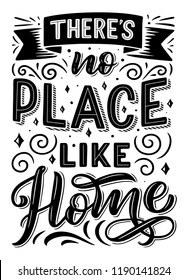 There is no place like home quote, font design and ribbon, swirls and curls with stars. Quotation phrase monochrome vector. Expression or sentence in capital letters with decor