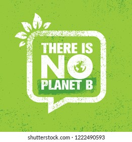 There Is No Planet B. Save Earth Eco Green Poster Motivation Quote Design Illustration On Rough Wall Background.