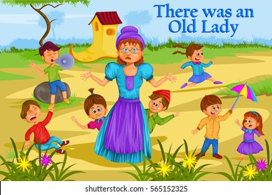 There was an Old Lady, Kids English Nursery Rhymes book illustration in vector