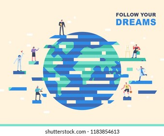 There are people who have diverse occupations around the globe in graphic style. flat design style vector graphic illustration