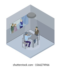 There is a policeman and a suspect in the interrogation room. Outside the window of the interrogation room, the victims point to the criminal. Isometric style. Vector illustration.