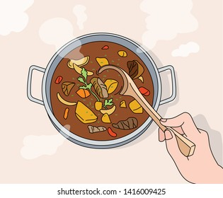 There is soup on the pot with a steaming bowl, and a hand holding a spoon is opening the soup. hand drawn style vector design illustrations.