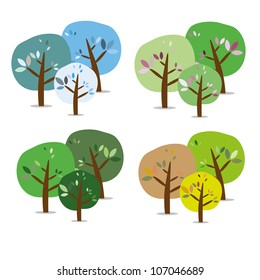 There are three isolated colorful seasonal trees