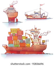 There are three type of a ships: the ocean liner, the tugboat and the bulker. Editable vector EPS v9.0