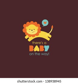 there's a baby on the way card. vector illustration