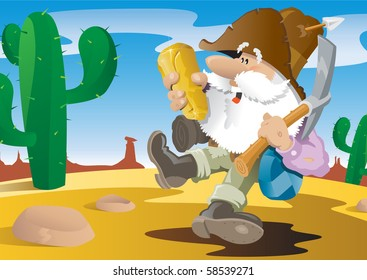 There's gold in them there hills! Old Prospector jumping for joy at the discovery of a huge golden nugget. Character and background are layered for easy editing.