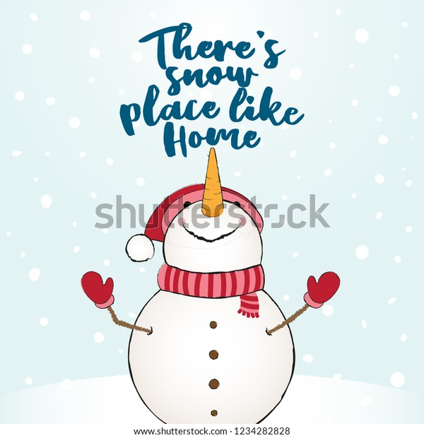 Theres Snow Place Like Home Funny Stock Vector (Royalty Free ...