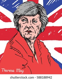Theresa Mary May, MP, Prime Minister of the United Kingdom and Leader of the Conservative Party, UK flag in the background, drawn by hand vector illustration in pop art style