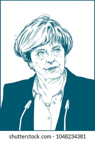 Theresa Mary May.  Prime Minister of the United Kingdom and Leader of the Conservative Party since 2016.  Vector Portrait Drawing Illustration. March 17, 2018