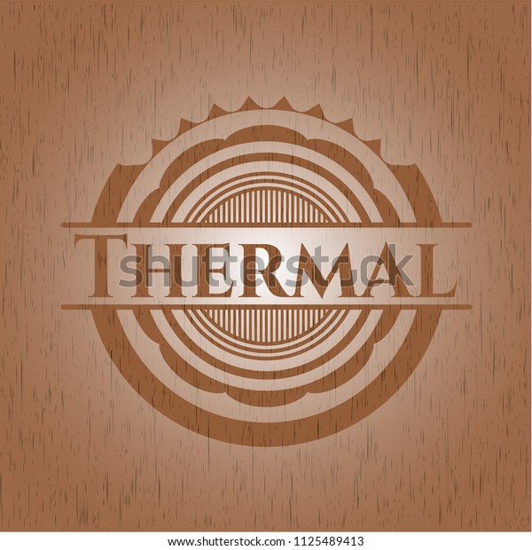 Thermal badge with wood background