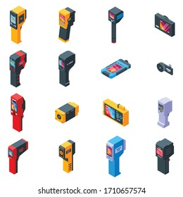 Thermal imager icons set. Isometric set of thermal imager vector icons for web design isolated on white background