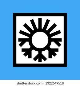 Thermal insulation icon with sun and snowflake insulate symbol. Vector illustration.