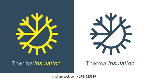 Thermal insulation icon. Temperature symbol. Sun snowflake sign. Weather insulate emblem. Vector illustration.