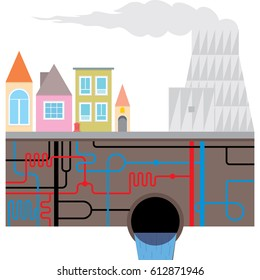 Thermal Power Plant and urban heating system. Houses with underground water pipes,  pipeline municipal infrastructure. Vector illustration