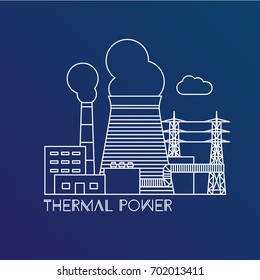 Thermal power station. Colorful illustration in a flat style. City infographics set. All types of power stations. System with transmission tower and generator and Cooling tower. One line design