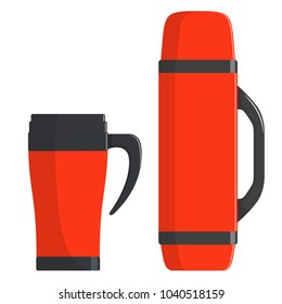 Thermo cup, travel mug, thermos isolated on white background. Modern thermoses for hot drinks, set. Flasks of different shapes. Modern Vector illustration in flat style