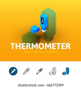 Thermometer color icon, vector symbol in flat, outline and isometric style isolated on blur background