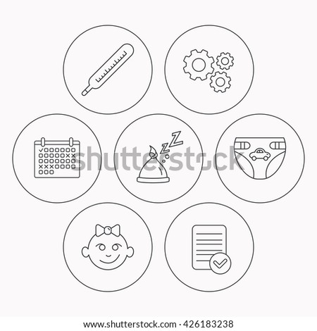 Thermometer Diapers Sleep Hat Icons Baby Stock Vector Royalty Free