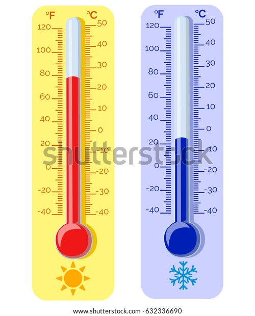 Thermometer equipment showing hot or cold weather .Celsius and fahrenheit meteorology thermometers measuring heat and cold, vector illustration