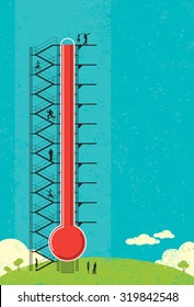Thermometer Fund raiser. People measuring the progress of a large fund raising thermometer.