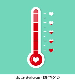 Thermometer gauge lobe of heart. Romantic goal icon. Heat level of love. Temperature scale for card. Degree of progress heart. Thermometer or thermostat icon. Valentines day vector illustration eps10