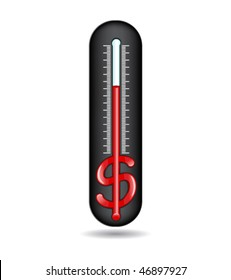Thermometer with a glass tube in the form of dollar