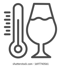 Thermometer and a glass of wine line icon. Alcohol drink in wineglass with thermometer outline style pictogram on white background. Winery signs for mobile concept and web design. Vector graphics