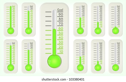 Thermometer green graphic showing progress towards goal, vector, 10eps.