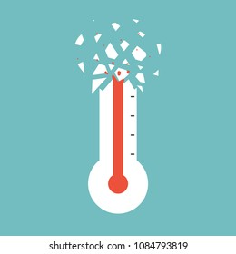 Thermometer with heat till heavy crack. Vector illustration