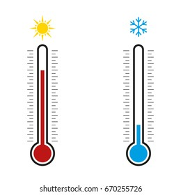 Thermometer. Hot, cold. Vector illustration.