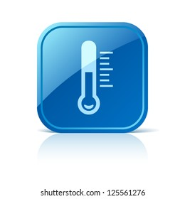 Thermometer icon on blue square button