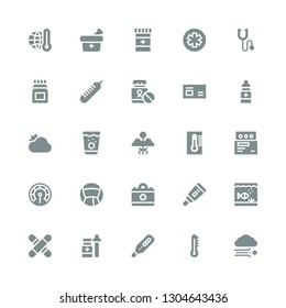 thermometer icon set. Collection of 25 filled thermometer icons included Blizzard, Thermometer, Medicine, Medical, Aquarium, Cloudy, Phonendoscope, Pharmacy
