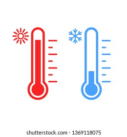 Thermometer icon set. Hot and cold weather. Vector. Isolated.