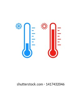 Thermometer icon set. Hot and cold weather. Vector. Isolated