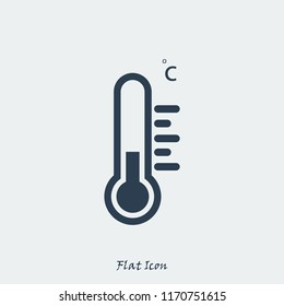 thermometer icon, stock vector illustration flat design style