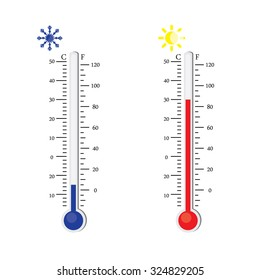 Thermometer icon. Vector. Celsius and Fahrenheit. measuring hot and cold temperature. Sun and snowflake winter and summer symbols