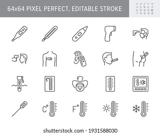 Thermometer line icons. Vector illustration include icon - infrared pyrometer, fahrenheit, contactless, thermostat outline pictogram for temperature measurment. 64x64 Pixel Perfect, Editable Stroke.