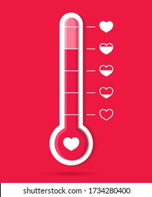 Thermometer of love and heart. Meter of temperature icon. Happy goal in romance. Hot weather. Barometer with scale for health body. Gauge with level good emotion in Valentine day. Hot customer. Vector