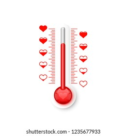 The thermometer of the love scale with the symbols of the heart. Vector illustration