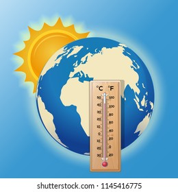 Thermometer on the background of the globe. The sun illuminates the earth. High temperature on the thermometer. Global warming. Vector illustration