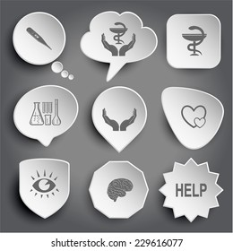 thermometer, pharma symbol in hands, chemical test tubes, human hands, careful heart, eye, brain, help. White vector buttons on gray.