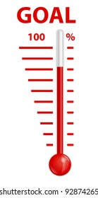 Thermometer red goal vector